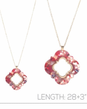 "Multi Acrylic Quatrefoil 36"" Necklace"