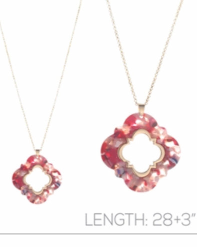 "Multi Acrylic Quatrefoil 36"" Necklace - Monograms By Kim Boutique & Gifts"