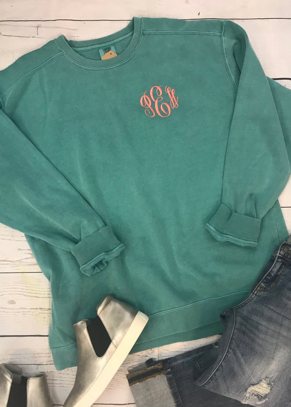Monogrammed Comfort Colors Sweatshirt - Seafoam - Monograms By Kim Boutique & Gifts