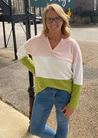 Waffle Knit Color Block Top