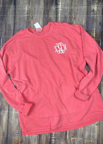 Watermelon Comfort Colors French Terry Pullover with Pocket - Monograms By Kim Boutique & Gifts