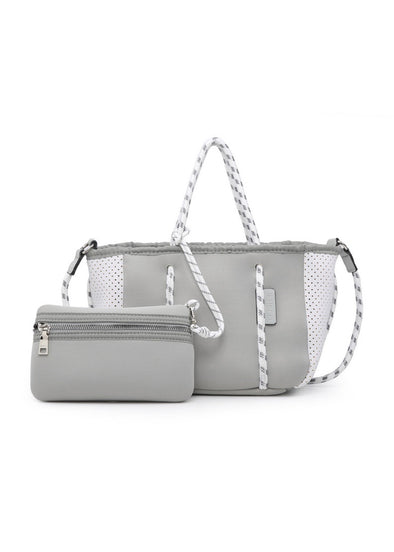 Coralia Neoprene Mini Bag - Light Grey/White