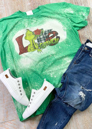 Grinch Love Bleached Graphic Tee