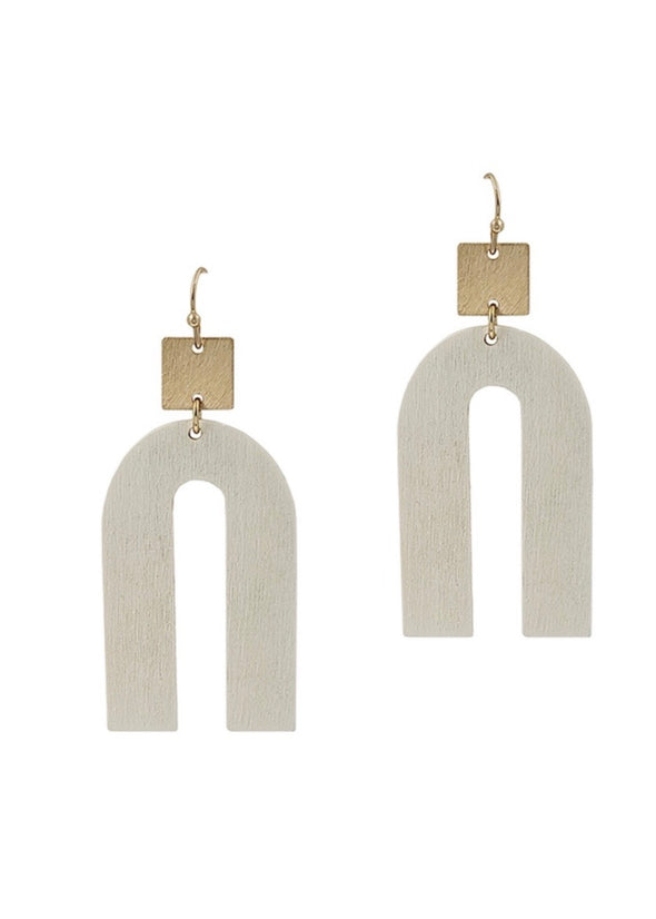 "White Wood Geometric w Gold 2"" Earrings"