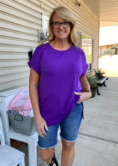 Cassie Short Sleeve Top - Purple
