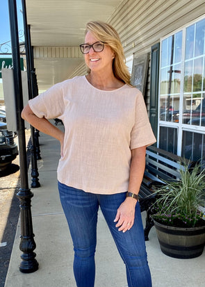 Gauze High Low Hem Top - Blush