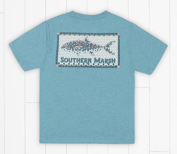 Southern Marsh Youth Tile Fish Tee-Washed Barbados Blue