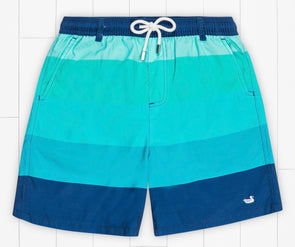 Southern Marsh Youth Harbor-Horizon Stripe Swim Trunk-Blue/Teal