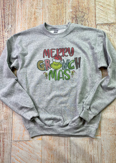 Youth Merry Grinchmas- Graphic Sweatshirt