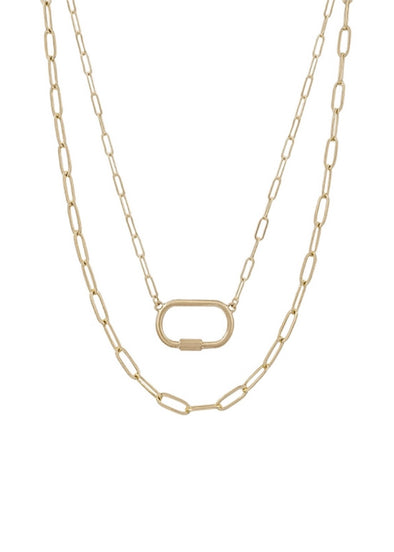 "Matte Gold Open Link & Carabiner Layered 16""-18"" Necklace"
