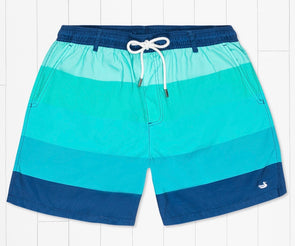 Southern Marsh Harbor-Horizon Stripe Swim Trunk-Blue/Teal