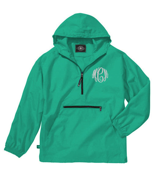 Unlined Pullover Rain Jacket--Mint - Monograms By Kim Boutique & Gifts