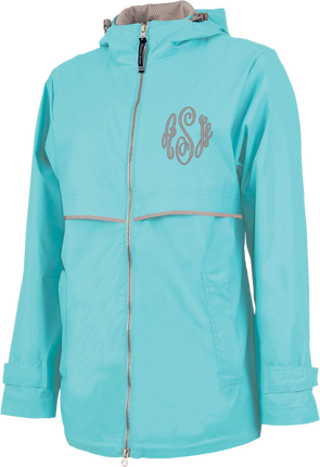 New Englander Rain Jacket--Aqua - Monograms By Kim Boutique & Gifts