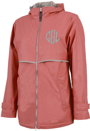 New Englander Rain Jacket--Coral - Monograms By Kim Boutique & Gifts