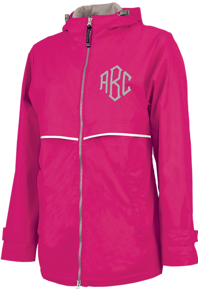 New Englander Rain Jacket--Hot Pink - Monograms By Kim Boutique & Gifts