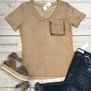 Eyelash Pocket Tee - Honey Gold - Monograms By Kim Boutique & Gifts