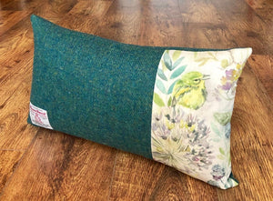Bird and Green Harris Tweed, Oblong Cushion