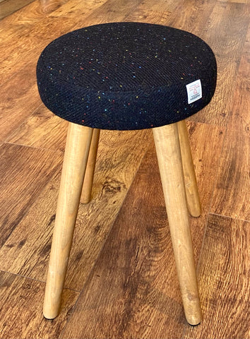 Black Speckled Harris Tweed Stool with Rustic Wooden Legs