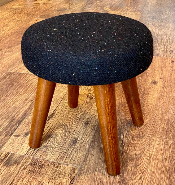 Black Speckled Harris Tweed Footstool with Dark Varnished Wooden Legs