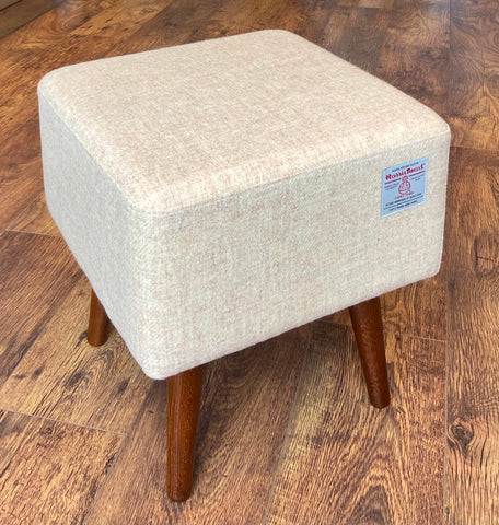 Oatmeal Cream Harris Tweed Square Footstool with Dark Varnished Wooden Legs