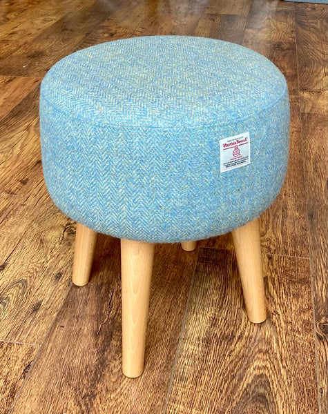 Light Blue Green Herringbone Harris Tweed Footstool with Varnished Wooden Legs