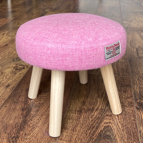 Mini Harris Tweed Light Pink Footrest with Varnished Wooden Legs