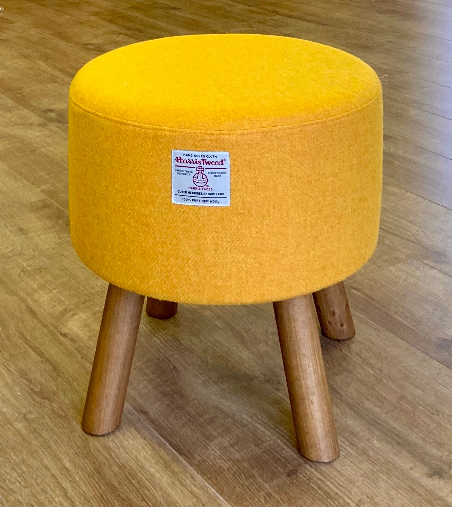 Yellow Harris Tweed Footstool with Rustic Wooden Legs