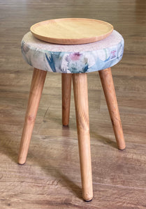 Limited Edition Small Side Table, Oatmeal Harris Tweed and Thistle