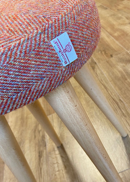 Rust Herringbone Harris Tweed Stool * New Taller Style *