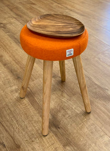 Small 'wee dram' Table, Orange Harris Tweed with Wooden Top and Rustic Wooden Legs