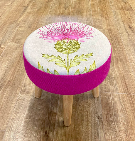 Bright Pink Embroidered Thistle and Harris Tweed Footstool with Varnished Wooden Legs