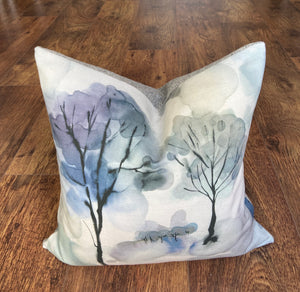 Watercolour Trees and Grey Harris Tweed Cushion, 18""