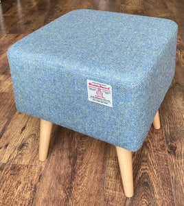 Sky Blue Square Footstool, Harris Tweed with Varnished Wooden Legs