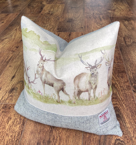 Stag Scene & Grey Harris Tweed Cushion, Handmade, 16""