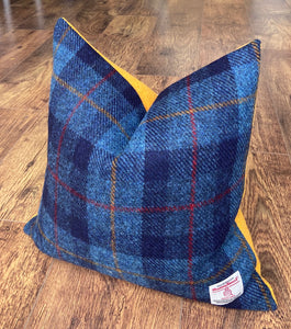 Blue Tartan and Yellow Harris Tweed Cushion 16""