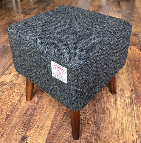 Charcoal Harris Tweed Square Footstool with Dark Varnished Wooden Legs
