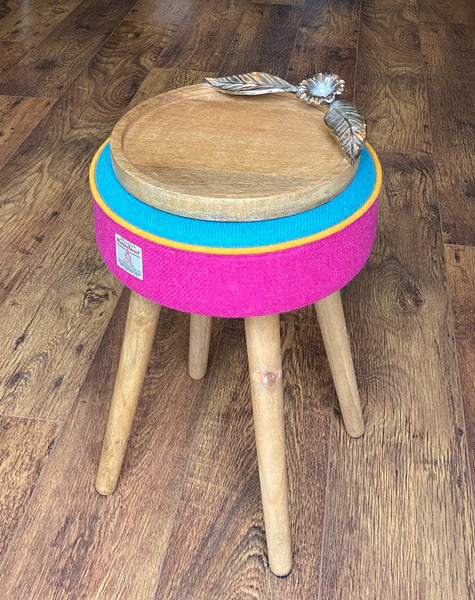Pink and Blue Harris Tweed Table with Yellow Piping and Rustic Wooden Legs