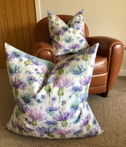 Thistle Floor Cushion with Light blue Backing & Duck Feather Insert