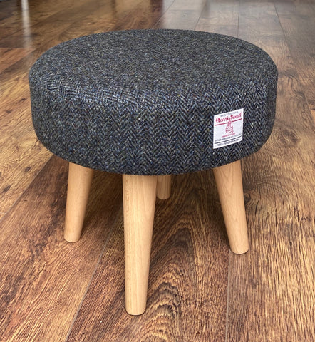 Charcoal Harris Tweed Footstool with Varnished Wooden Legs