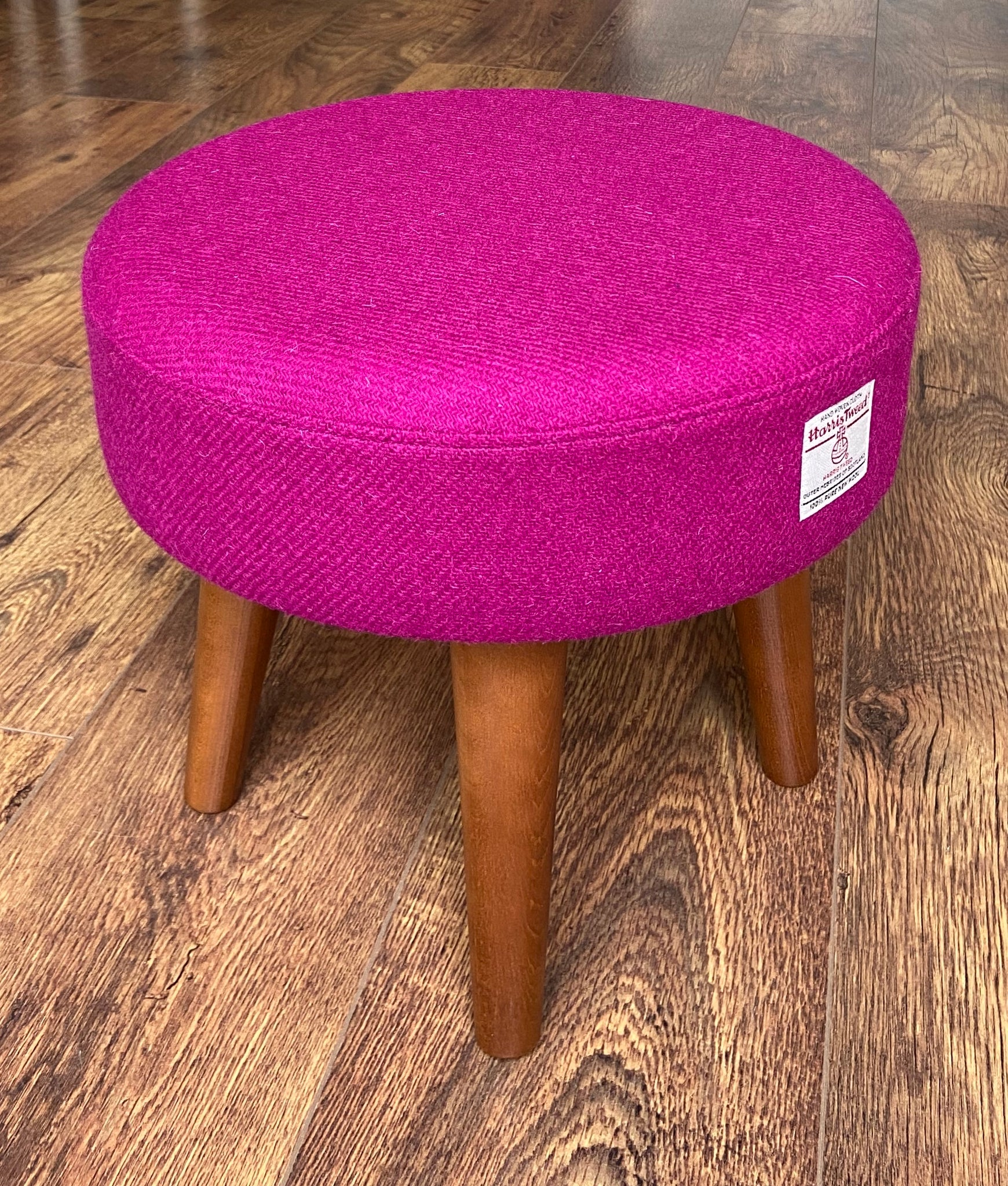 Fuchsia Harris Tweed Footstool with Dark Varnished Wooden Legs