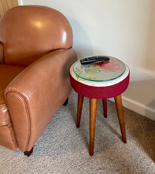 Red Embroidered Thistle and Harris Tweed End Table with Glass Top
