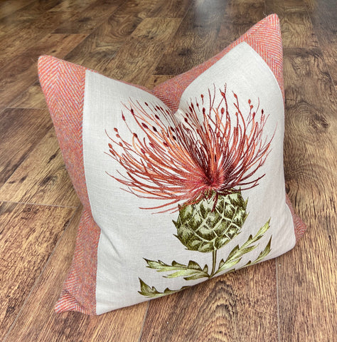 Burnt Orange Embroidered Thistle Cushion 18""