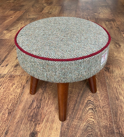 Brown Harris Tweed Footstool with Red Piping and Dark Varnished Wooden Legs