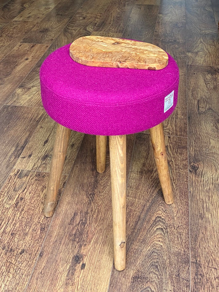 End Table: Fuchsia Harris Tweed with olive wood top and Rustic Wooden Legs