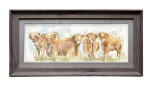 Framed Highland Cow Print Wall Art