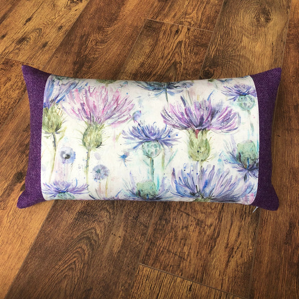 Scottish Watercolour Thistle with Purple Harris Tweed Oblong Cushion