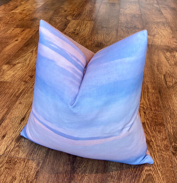Skyscape and Pink Cushion with Duck Feather Insert, 18""