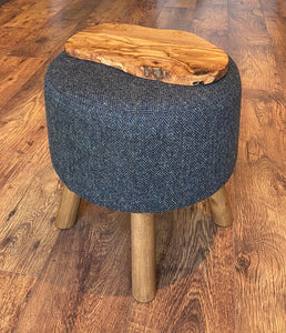 End Table: Charcoal Harris Tweed with Rustic Wooden Legs and Olive Wood Top