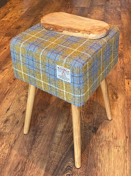 Square End Table: Mustard Tartan Harris Tweed with olive wood top and Rustic Wooden Legs