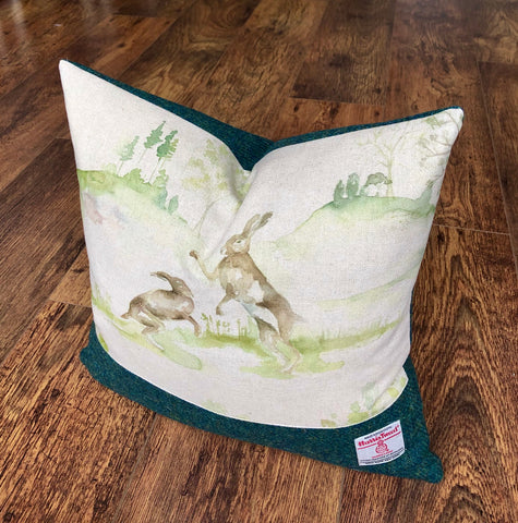 Boxing Hares and Green Harris Tweed Cushion, Handmade, 16""